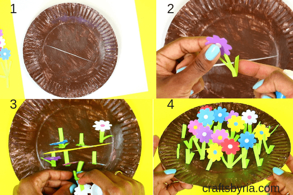 Fun spring craft for kids- Paper plate garden and moving bee-fb-step3