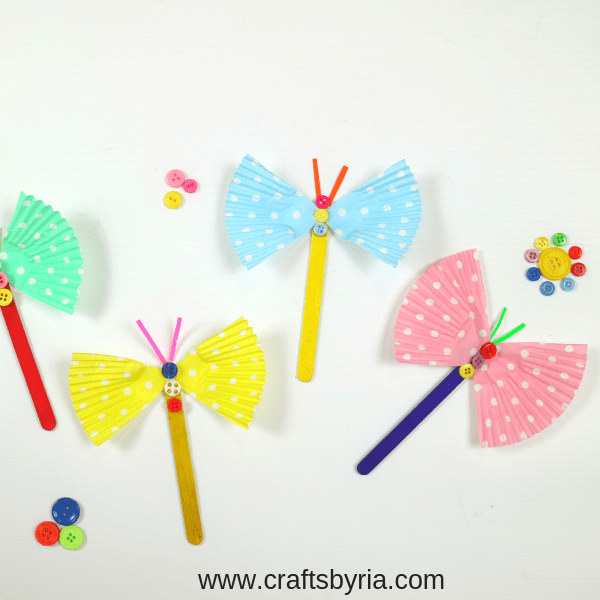 cup cake liner butterfly craft for kids-social media