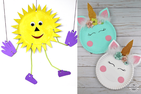 easy paper plate crafts for kids-paperplate sun and unicorn crafts