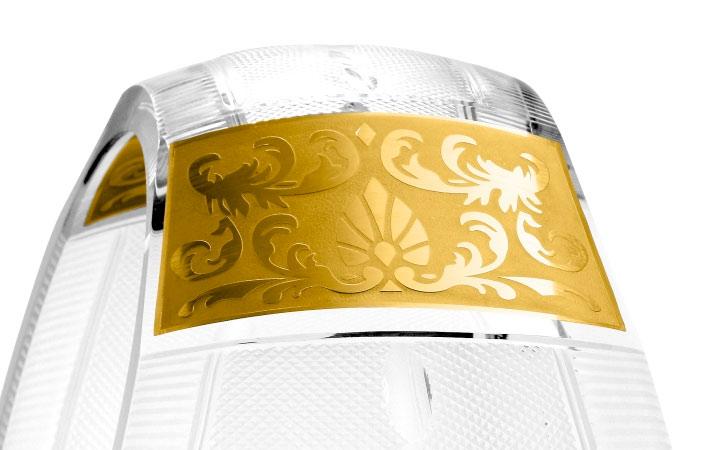 ボヘミアガラス モーゼル 花瓶 イケバナ ハンドカット ゴールド ( Bohemian Glass Moser Ikebana, hand cut and gilded )