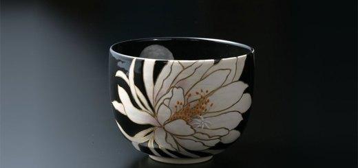 京焼・清水焼 抹茶碗 月下美人 京友禅