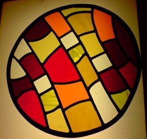 Sweet wrapper inspired stained glass window