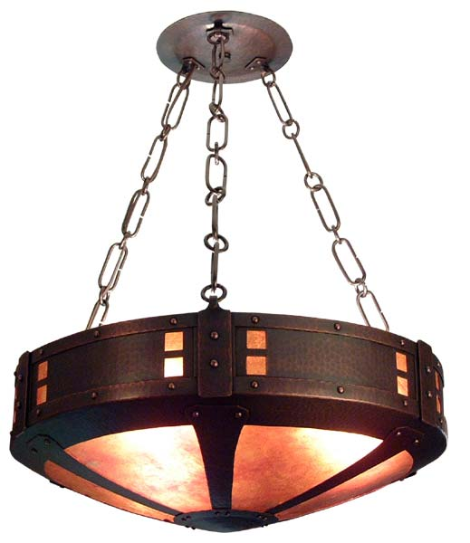 Arts And Crafts Style Round Hammered Copper Chandelier With Mica