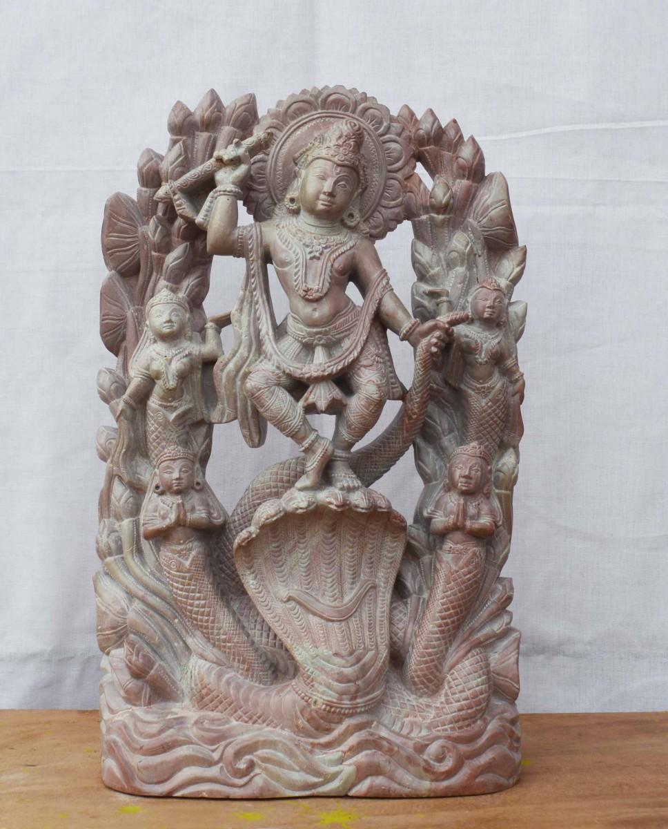 Dancing Krishna Kaliyadalana Avatar sculpture 12 inch B36
