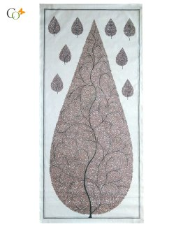 Eggplant color tree Tasar Painting 20 x 42 in