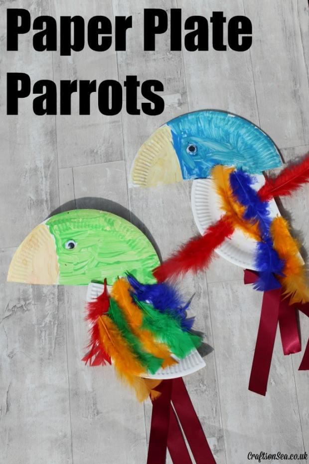 paper plate parrots