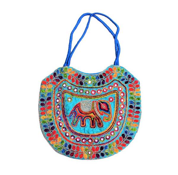 Embroidered Elephant Tote Bag