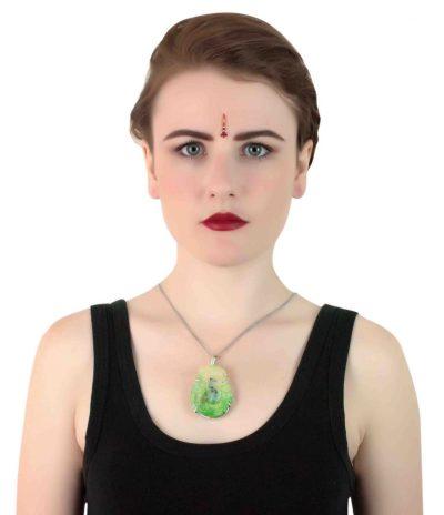 Green Crystal Geode Pendant
