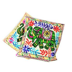 Elephant Embroidered Cushion Cover