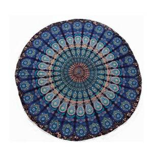 Mandala Blue Round Tablecloth