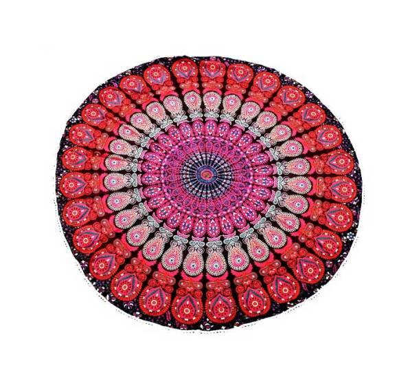 Mandala Maroon Round Tablecloth