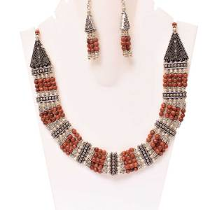 Sunstone Beads Statement Necklace