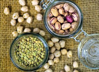 dried lentils, chickpeas and beans, protein sources