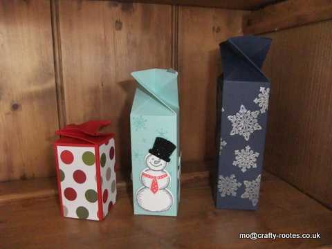 Twist-topped box in 3 sizes decorated for Christmas using Flurry of Wishes and Snow Place stamp sets and Merry Moments dsp