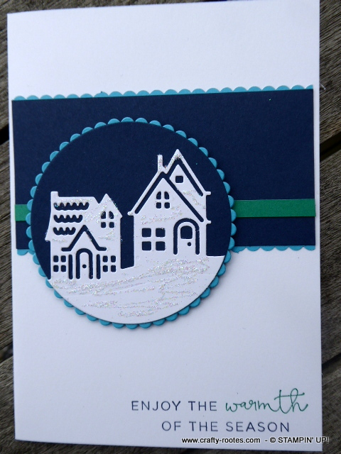 Seasonal snowy homes card