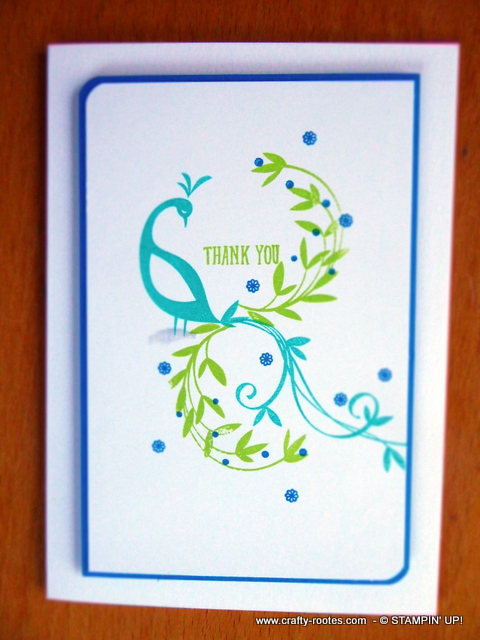 Feathery peacock for a thank you card