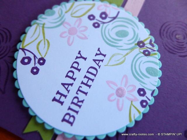 Hand stamped flowery birthday card