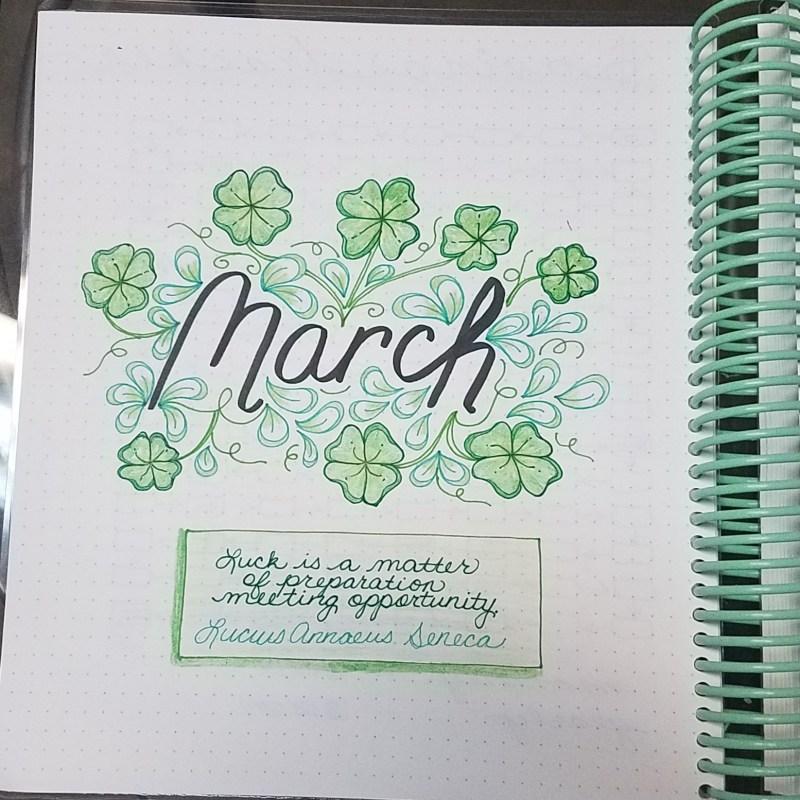 March 2018 Bullet Journal Set up