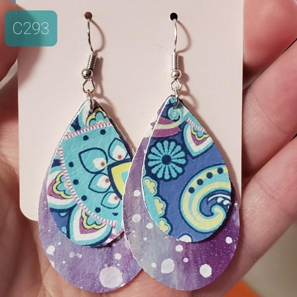 Purple Zentangle earrings