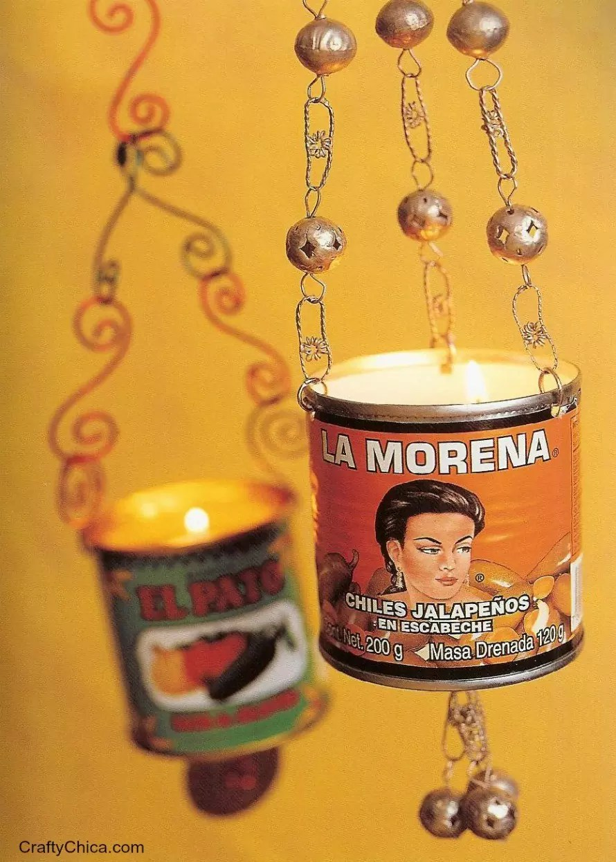 How to make lanterns from chile sauce cans.