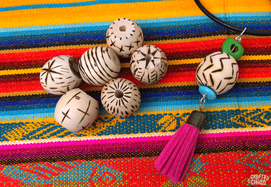 Wood-burned beads by Crafty Chica.