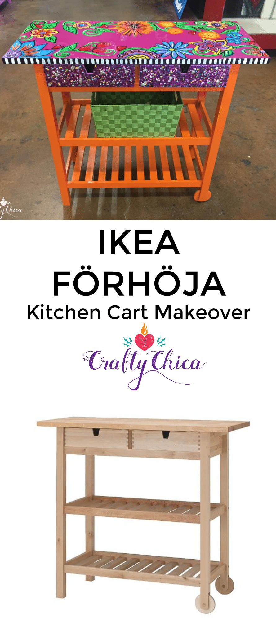 Ikea kitchen cart makeover