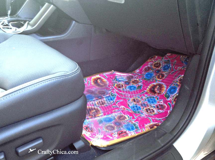 Oilcloth car mats by Crafty Chica