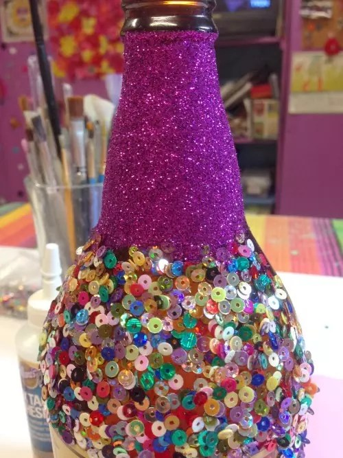 How to glitter a bottle, CraftyChica.com