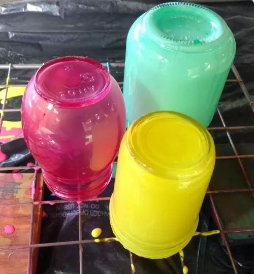 Stained glass jars draining
