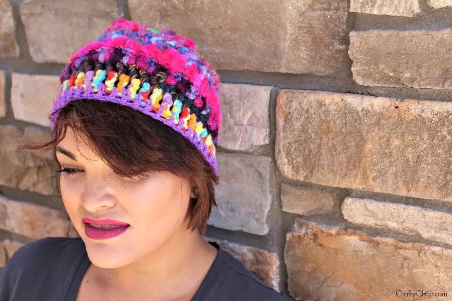This one has 50 stitches across, for a larger beanie or slouchie hat, increase stitches to 60.