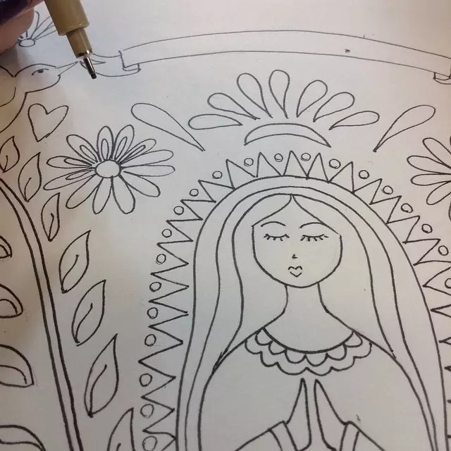 Mother Mary illustration in progress. CraftyChica.com