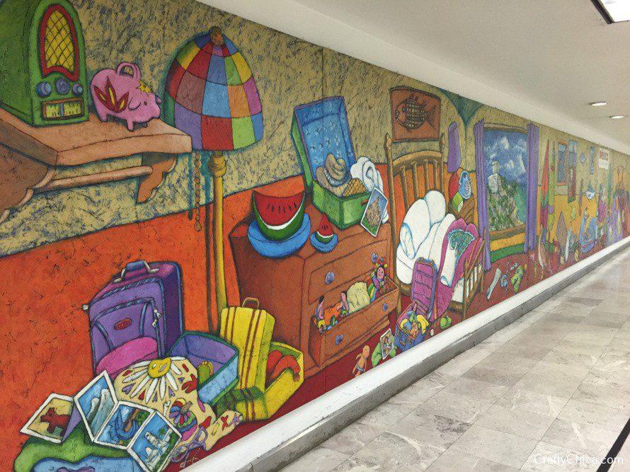 Mural in Benito Juarez airport.