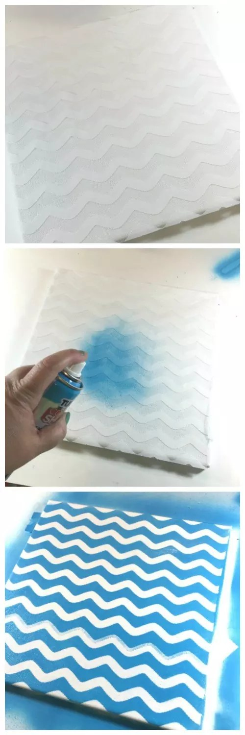Spray painted stenciled canvases. Spray over lace that is taped to the canvas.