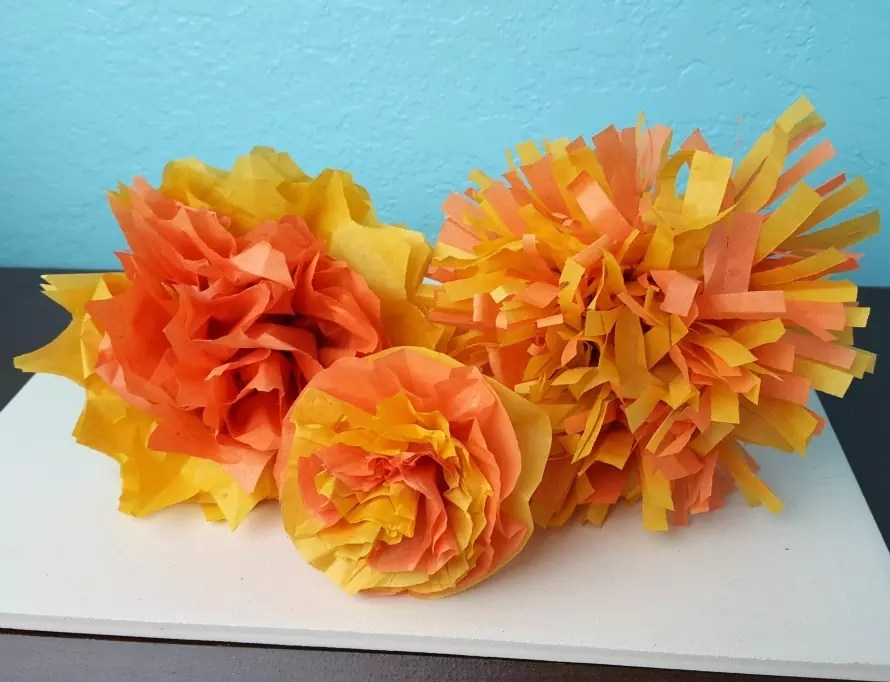 tissue paper marigolds diy