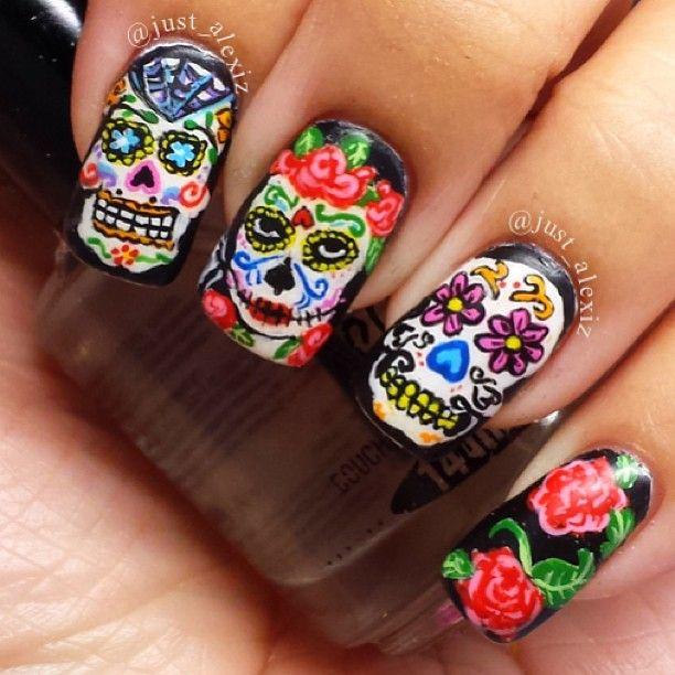12 Sugar Skull Nail Tutorials - The Crafty Chica