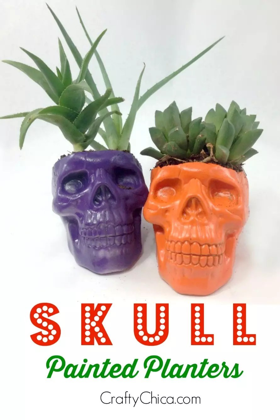 DIY Skull Planters by CraftyChica.com