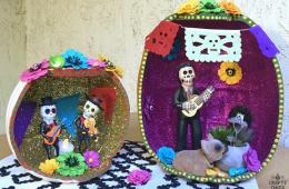Dia de los Muertos Pumpkin Shadow Box by CraftyChica.com.