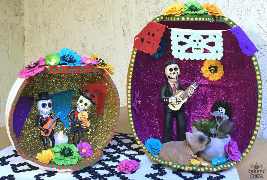 Dia de los Muertos Pumpkin Shadow Box