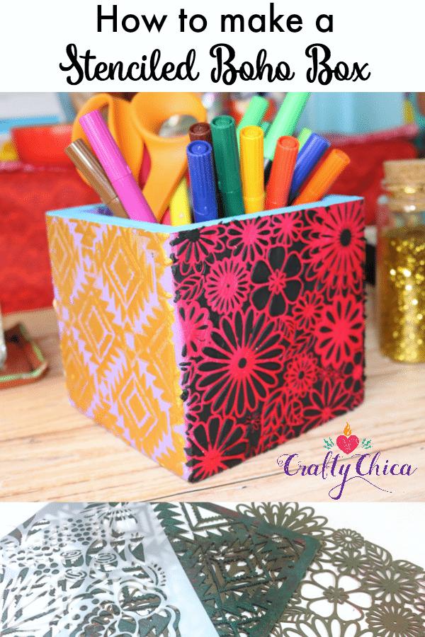How to make a stenciled boho box by CraftyChica.com