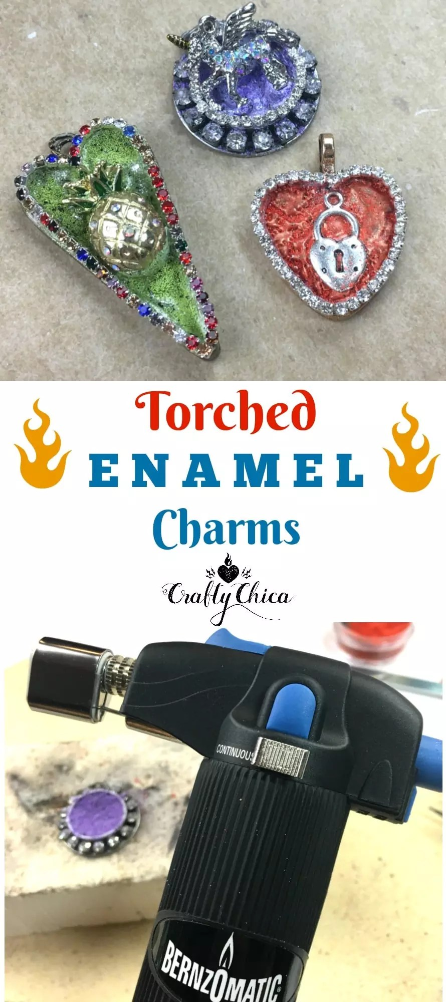 Torched enamel jewelry by CraftyChica.com