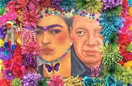 Frida art wall by artist Patsy Lowry, Heard Museum.