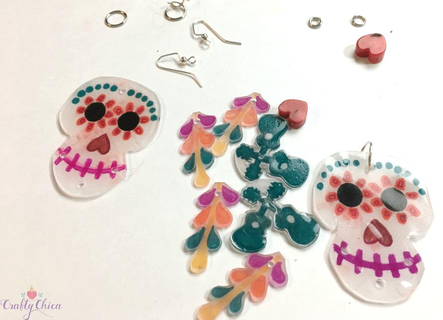 Shrinky Dink earrings in progress.