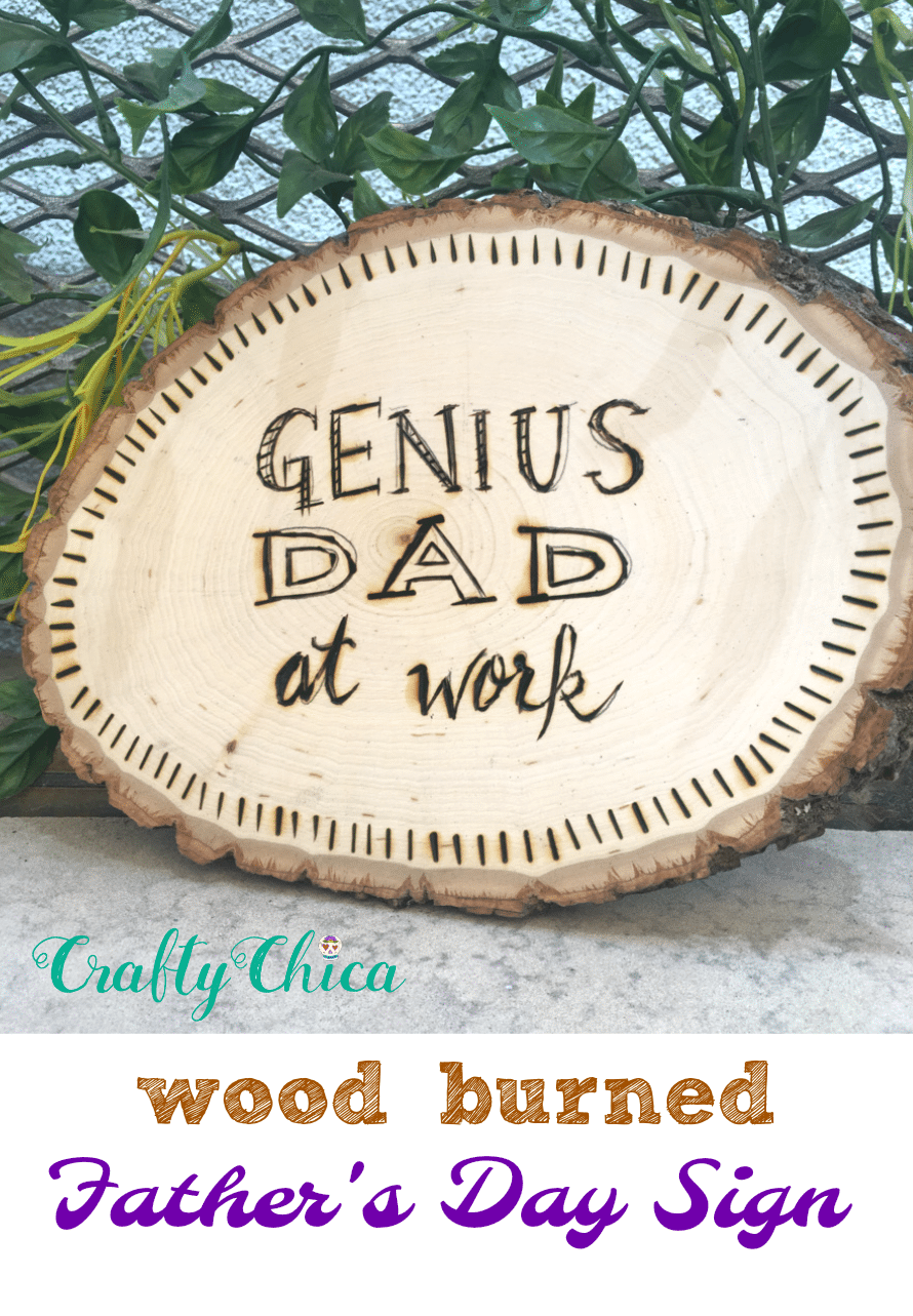 Wood burned Father's Day sign by Crafty Chica.