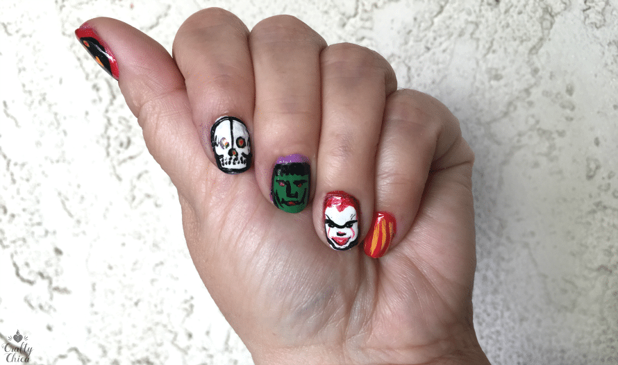 Pennywise and more halloween nail art diy crafty chica the other hand is for dia de los muertos prinsesfo Images