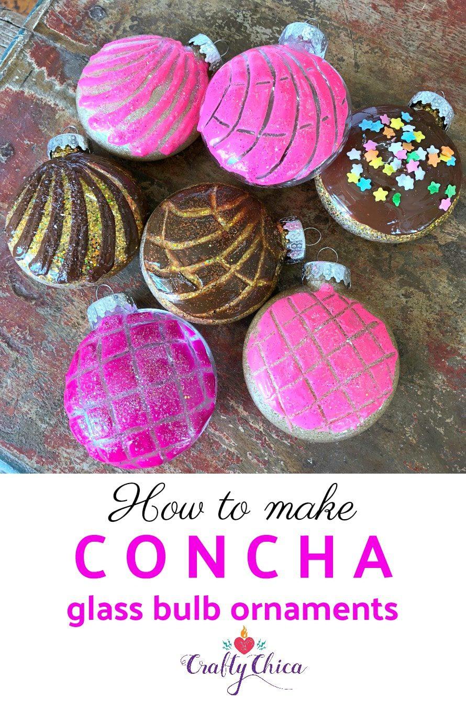Concha-inspired holiday ornaments