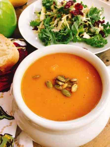 Roasted Butternut Soup is brimming with all the delicious flavors and scents of fall. This vegan, gluten free soup is sure to please all of your holiday guests.