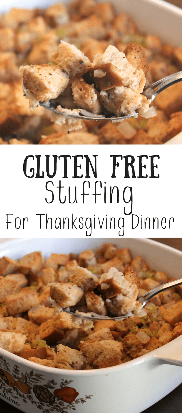 Stuffing is a staple at our table at Thanksgiving.  I've always loved it during the holiday season, but now that I can't eat gluten, I had to come up with a solution.  Gluten free stuffing is just as flavorful as the regular stuff, but it's without the gluten that will make me sick.  Definitely try this!