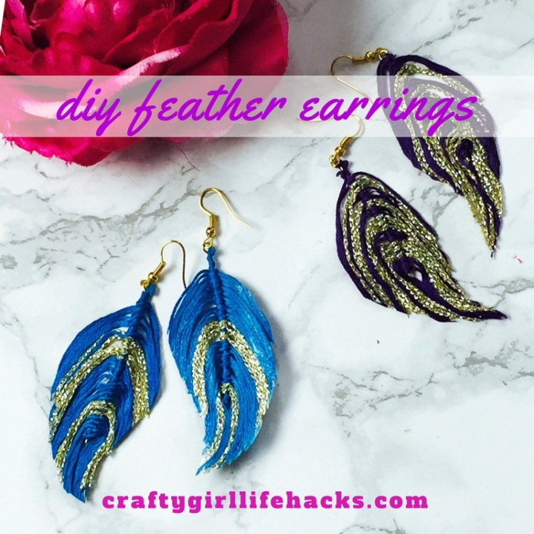 DIY Embroidery Cruelty Free Feather Earrings