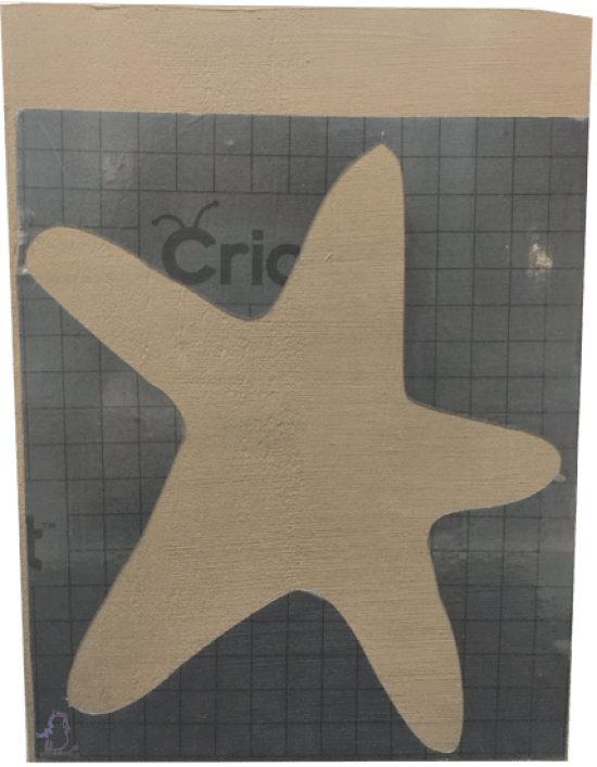 Hand-Drawn Cricut-Made Stencil Starfish Board -- Visit CraftyJBird.com for more info...