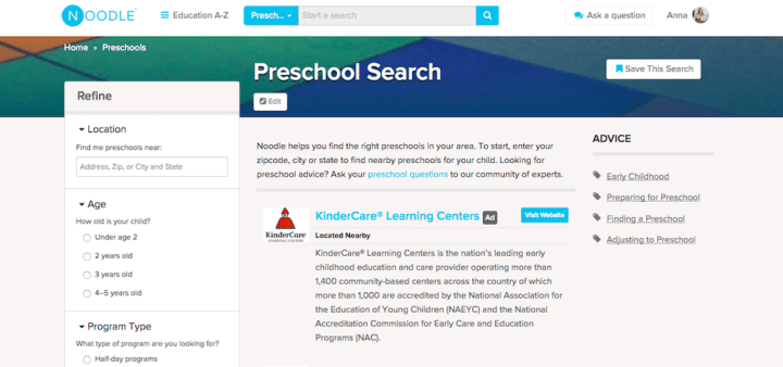 Noodle Preschool Search